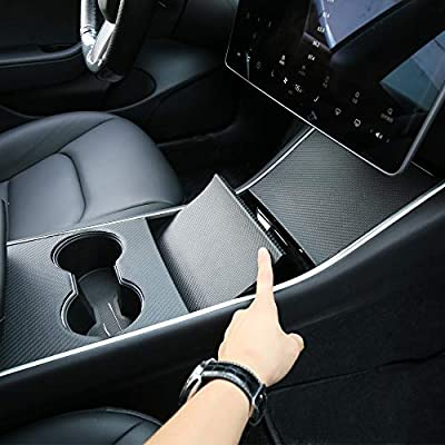 Tesla Model 3 Model Y Center Console Leather Wrap Kit Carbon Fiber Leather Sticker for Tesla Model 3 Model Y Console Protector Accessories: Automotive