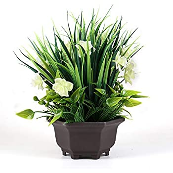 Binnny Flower Artificial Potted Plants with Gardenia Flowers for Farmhouse Home, Office, Indoor and Outdoor Decor 10 Inch