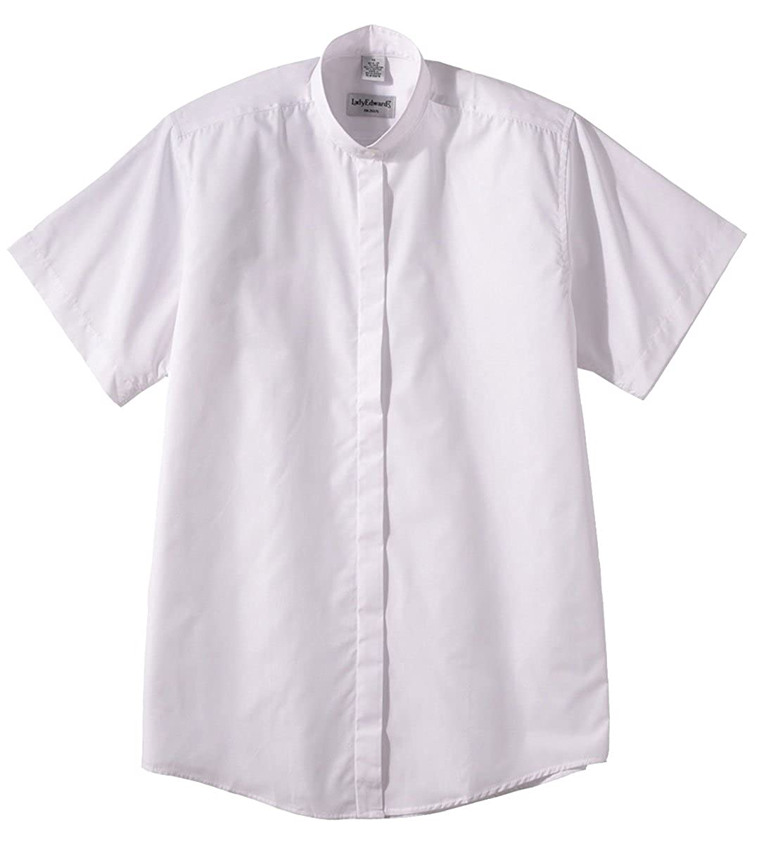 Edwards Garment Womens Short Sleeve Banded Collar Shirt White X