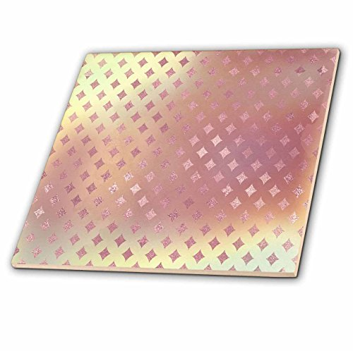 3dRose Anne Marie Baugh - Patterns - Glam Pink Faux Printed Foil Diamond Points Pattern - 8 Inch Glass Tile (ct_283371_7)