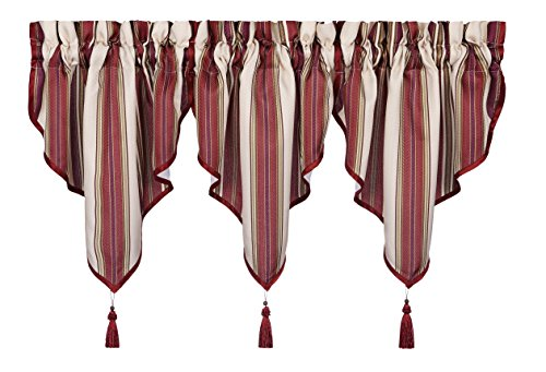 Five Queens Court Jackson Stripe Ascot Window Valance, Woven Herringbone, Rod Pocket, 40