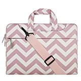 MOSISO Laptop Shoulder Bag Compatible 13-13.3 Inch MacBook Pro, MacBook Air, Notebook Computer, Chevron Style Messenger Briefcase Carrying Handbag Sleeve Case Cover, Pink