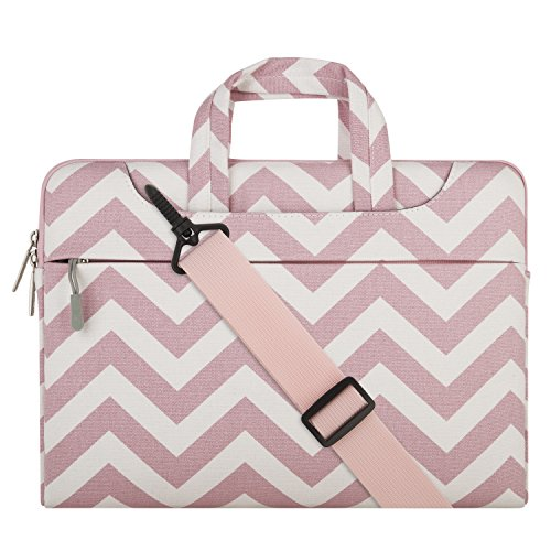 Mosiso Chevron Style Fabric Laptop Sleeve Case Cover Bag with Shoulder Strap for 13-13.3 Inch MacBook Pro, MacBook Air, Notebook Computer, - Style Pink