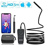 Wireless Endoscope, ROTEK Semi-rigid WiFi Inspection Camera IP68 Waterproof Borescope 2.0 Megapixels 1080P FHD Snake Camera with 8 LEDs Light Compatible for iPhone iPad Android Phone, Tablet PC-16.4FT
