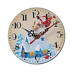 Vosarea Christmas Wall Clock Round Frameless Antique Silent Clock Xmas Party Decorative Clock