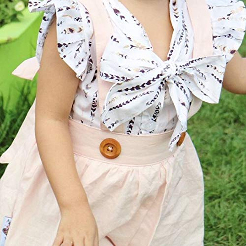 Baby Girl Skirt Outfit Toddler Infant Girls Feather T Shirts Pink Suspender Dress Clothing Set