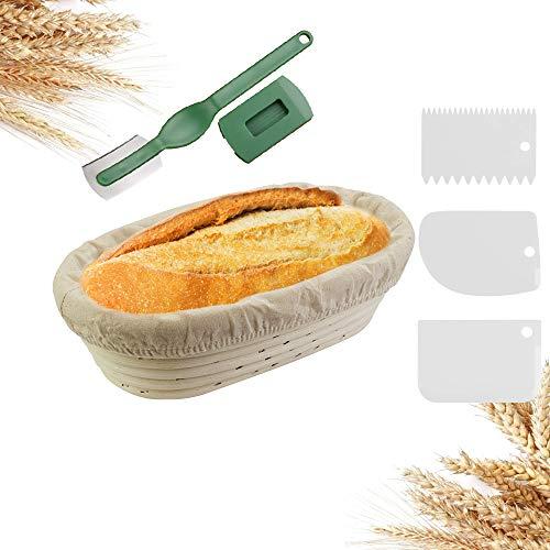 EMAGEREN Gaarmandje set ø 25 cm fermentatiemand ovaal banneton fermentatiemand handgemaakte rotanmand broodvorm…
