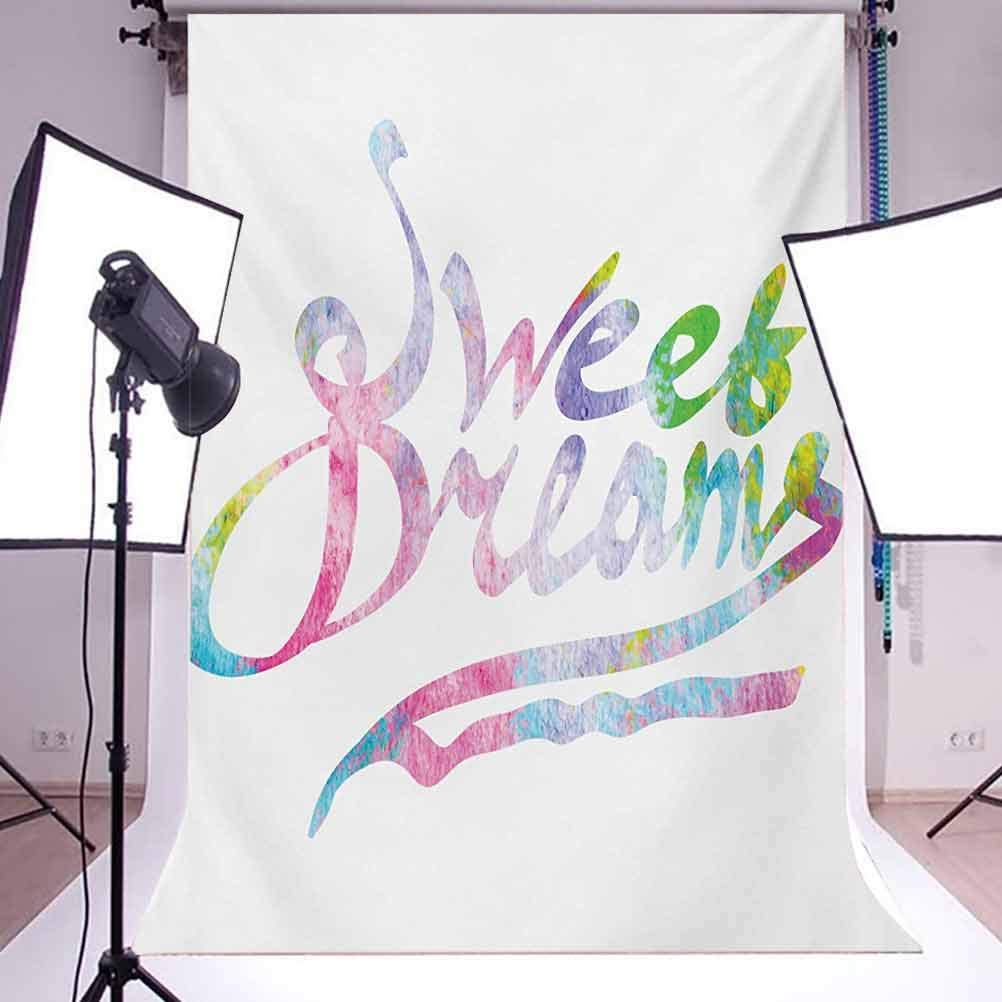 8x10 FT Backdrop Photographers,Colorful Motivational Quote in Watercolor Style Fantasy Happiness Youth Themes Background for Kid Baby Boy Girl Artistic Portrait Photo Shoot Studio Props Video Drape