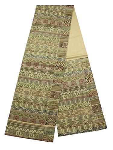 液化する上へ登録リサイクル 袋帯 インカ文様 正絹 六通