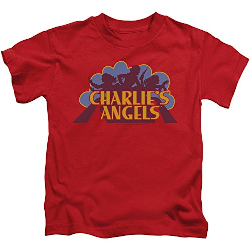 Charlies Angels Faded Logo Unisex Youth Juvenile T-Shirt for Girls and Boys, Large (7) Red