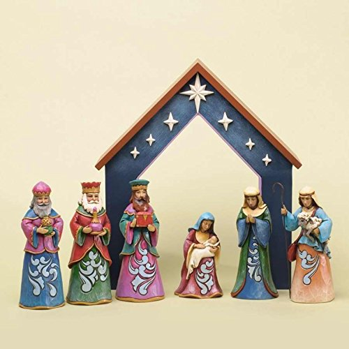 Jim Shore for Enesco 7-Piece Heartwood Creek Nativity Set Figurine, Mini (Nativity Set Shore Mini Jim)