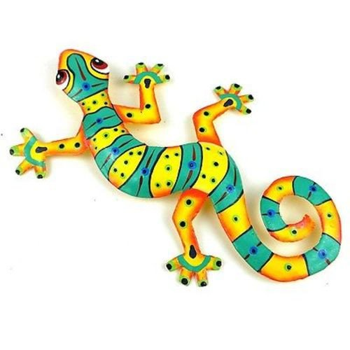 Green and Yellow Stripe Metal Gecko-8""