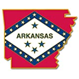 PinMart's State Shape of Arkansas and Arkansas Flag Pin 1-1/8''