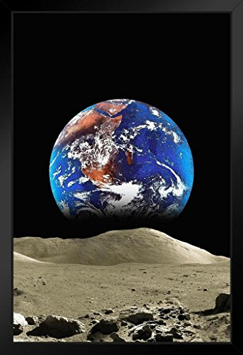 Pyramid America Malcolm Watson Earth from The Moon Framed Poster 14x20 inch ()