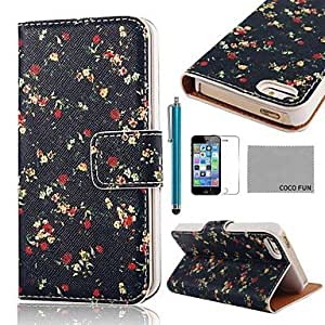 WQQ Patrón COCO FUN Flor Negro ® PU Leather Case cuerpo completo con cine, Stand and Stylus para iPhone 5/5S