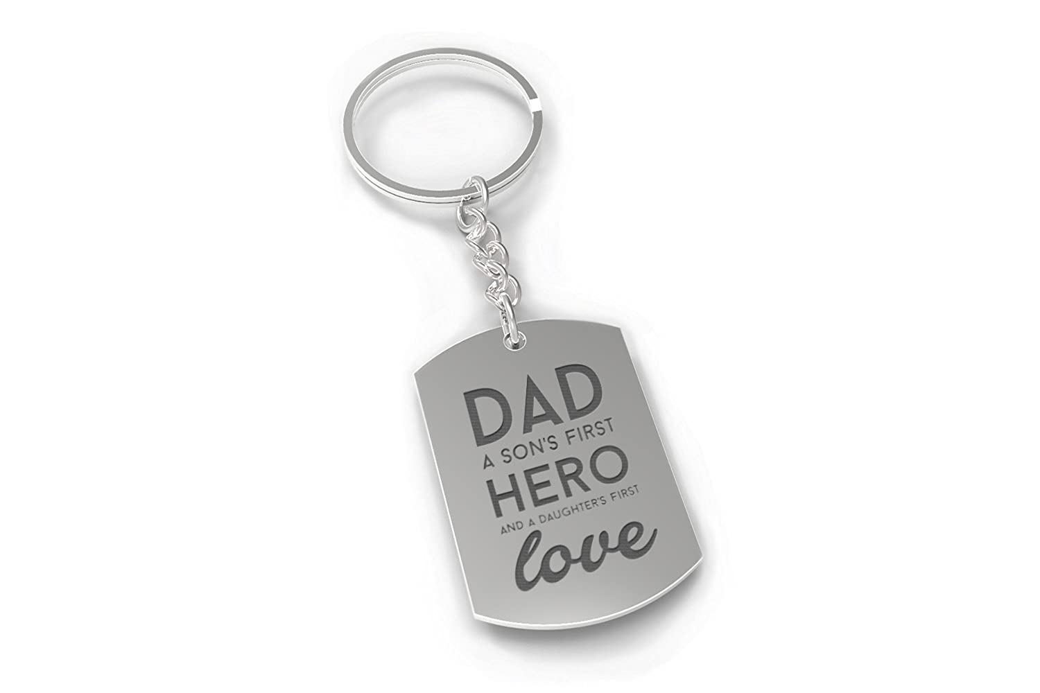 Amazon.com: Nickel Plated Keychain for Dad - Son\'s Hero & Daughter\'s ...