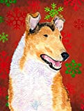 Caroline's Treasures SS4677CHF Collie Smooth Red and Green Snowflakes Holiday Christmas Canvas House Flag
