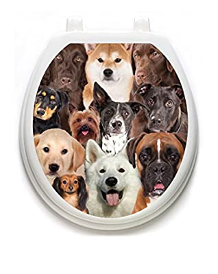 Toilet Tattoos, Toilet Seat Cover Decal, Dogs Galore, Size Round/standard