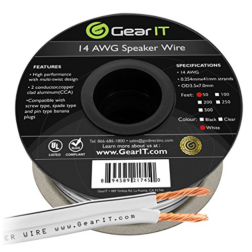 GearIT Pro Series 14 AWG Gauge Speaker Wire Cable (50 Feet / 15.24 Meters) Great Use for Home Theater Speakers and Car Speakers White (50' 14 Awg Speaker Wire)