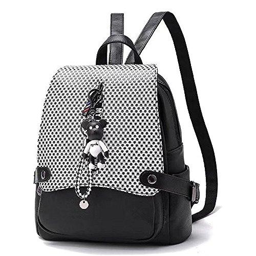 (JVP1073-B3) señoras mochila de cuero de la PU todos los 5 colores de gran capacidad bolsa de viaje de vuelta señoras de moda simple luz popular escuela suburbana Negro 2