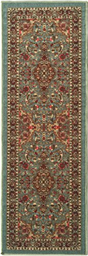 Ottomanson New Ottohome Persian Heriz Oriental Design Runner Rug with Non-Skid Rubber Backing, 22 L x 84 W, Sage Green