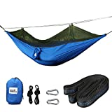 """Camp Solutions Hammock with Mosquito Bug Netting Outdoor Parachute Hammock Bed with Carabiners, Tree Straps for Backpacking, Camping, Beach, and Hiking, 118""""(L) x 55""""(W)"""