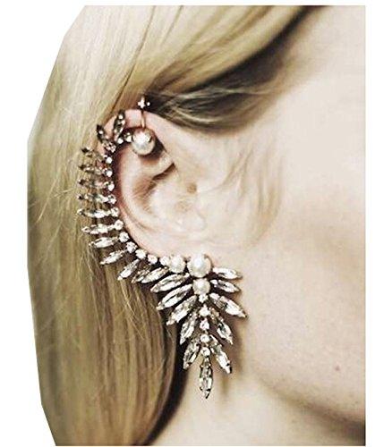Wiipu Gorgeous Pearl Crystal Ear Cuff Earrings Stud Earrings Punk Emo Goth Celebs(D67)