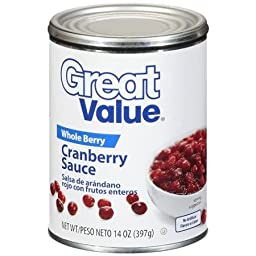 Great Value, Whole Berry, Cranberry Sauce, 14 Oz (Pack of 3)