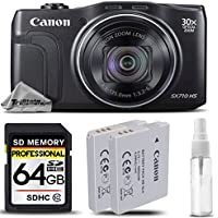 Canon PowerShot SX710 HS Digital Camera Black + Backup Battery + 64 Class 10 Memory Card + SD/SDHC Memory Card Hard Case + Cleaning Kit. All Original Accessories Included - International Version