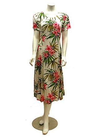 Hawaiian Rayon White Muumuu Dress with Floral Design - Shipped from Hawaii (Item ID: