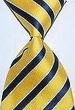 jacob alex #45222 Stripe Yellow Black Blue White Tie JACQUARD WOVEN Silk Tie Mens Tie Necktie
