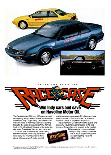 *PRINT AD* 1990 TEXACO HAVOLINE MOTOR OIL with CHEVROLET BERETTA INDY COUPE & 454 SS PICKUP