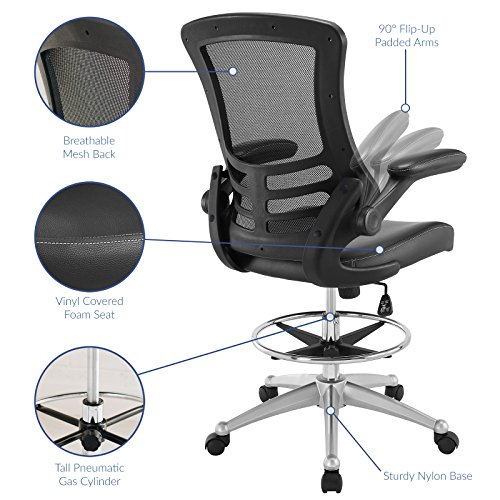 Modway Attainment Drafting Chair In Black Reception Desk