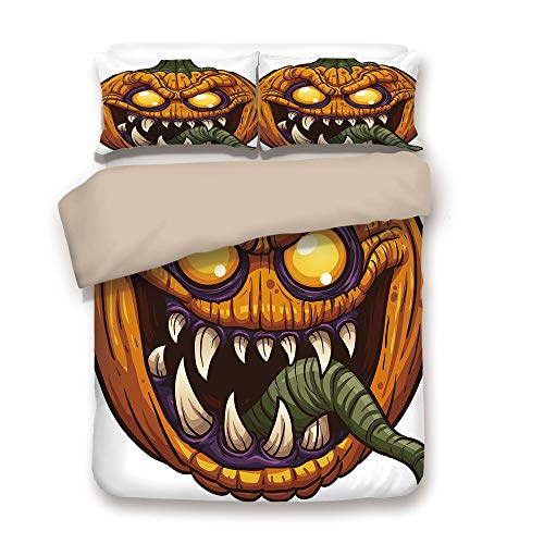 iPrint Duvet Cover Set,Back of Khaki,Halloween,Scary Pumpkin Monster Evil Character with Fangs Aggressive Cartoon,Purple Orange Dark Green,Decorative 3 Pcs Bedding Set by 2 Pillow Shams,King ()