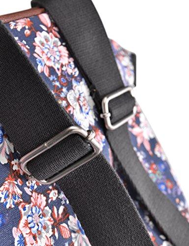 Douguyan Ragazze Zaino di Tela Borsa per la Scuola di Cuoio Casuale Borsa per Università Canvas School Bag Student Girls Donne Travel Backpack 14 Pollici Ladies Womens PC Cotone 164 Blu Rosa Fiore
