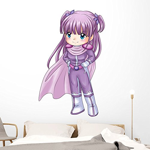 Wallmonkeys Chibi Style Illustration Super-heroine Wall Decal Peel and Stick Decals for Girls (60 in H x 42 in W) WM308541