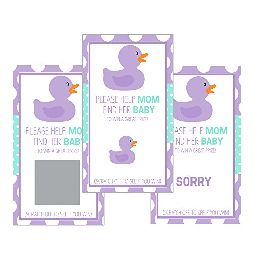 - Set of 12 Scratch Off Game Cards for Baby Shower Games with Rubber Duck in Lavender SC038