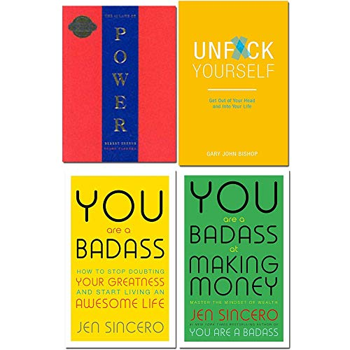 Book cover from 48 laws of power, unfck yourself, you are a badass, you are a badass at making money 4 books collection set by Robert Greene