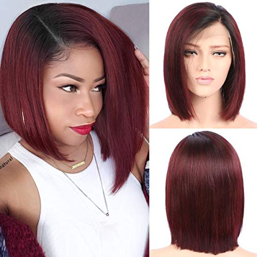 Myfashionhair Human Hair Lace Front Wigs Blonde Bob Silky Straight Human Hair Wig Wine Red 8 inch 180% Density Straight Hair Human Hair Wig with 13x4 Swiss Lace and Adjustable - Inch 8 Red Wine