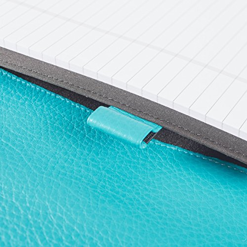 Leatherology Left Handed Executive Zippered Portfolio - Full Grain Leather Leather - Teal (Blue) by Leatherology (Image #4)