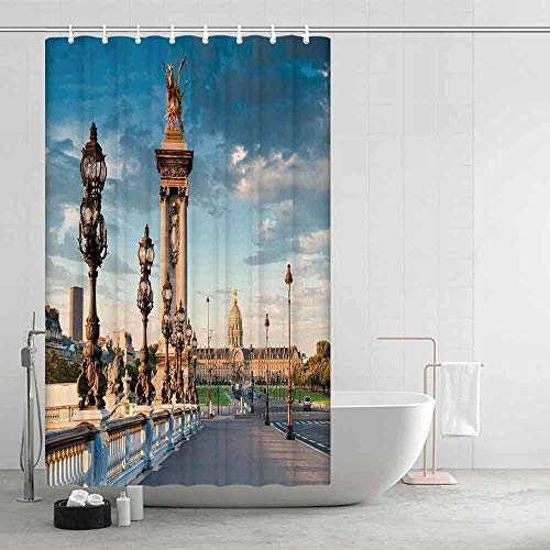 TecBillion Paris Decor Distinctive Shower Curtain,Pont Alexandre III Bridge 1896 Spanning The River Seine Ornate Art Nouveau Lamps for Men Women,47.24
