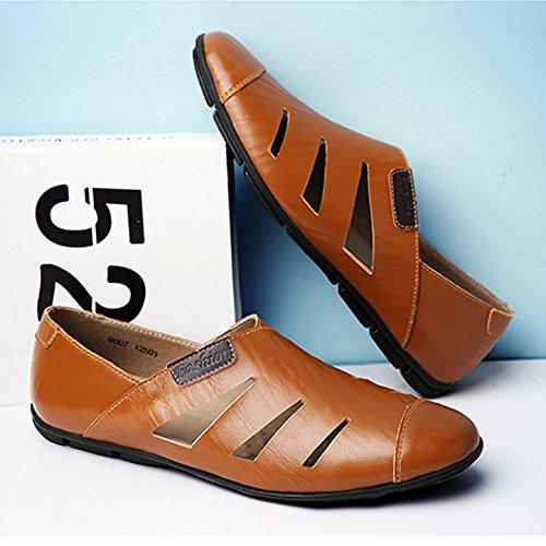 Fond Homme de Pour à Sandales Chaussure Été Plat Dessin CHNHIRA Ciselé Brun Loisir qx8PwnBg
