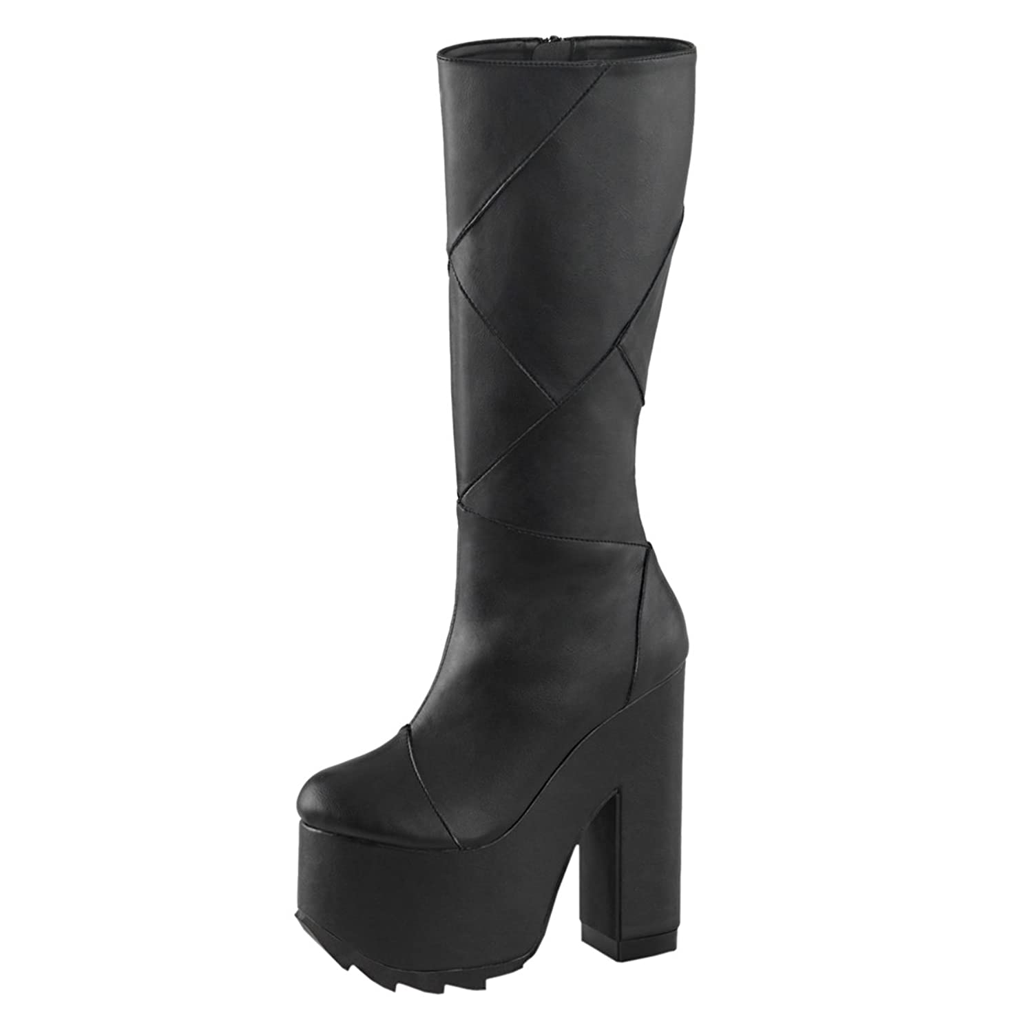 Summitfashions Womens Gothic Platform Boots Vegan Leather Black Knee in High Boots 6 1/4 in Knee Heel B01EP31M1I 8 B(M) US c9d06e