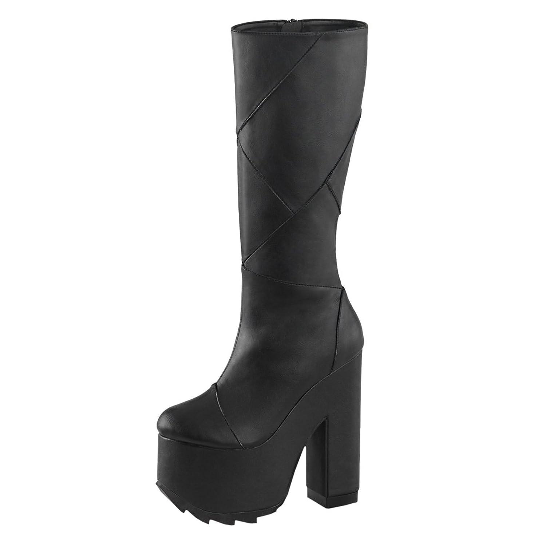 Summitfashions Womens Gothic Platform Boots Vegan Leather Black Knee High Boots 6 1/4 in Heel B01EP31M1I 8 B(M) US