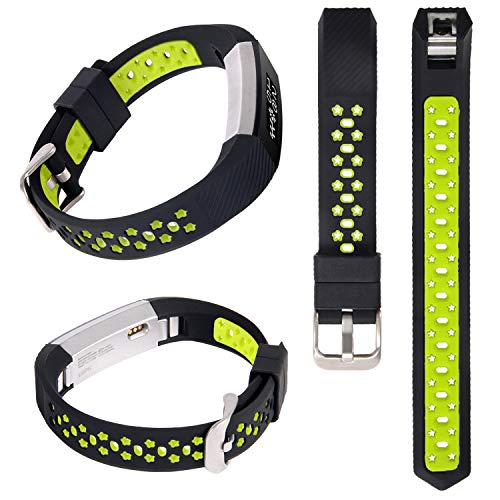 Alto Fluorescent - Lwsengme Silicone Strap Compatible with Fitbit Alta/Fitbit Alta HR Wrist Replacement Band Smart Watch Fitness Strap Accessory (Black/Fluorescent Yellow)