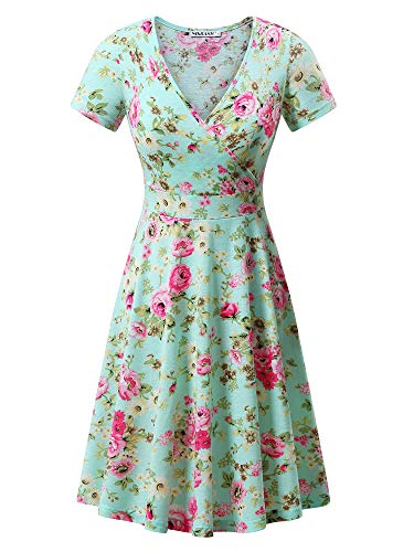 MSBASIC Women's Deep V Neck Short Sleeve Unique Cross Wrap Casual Flared Midi Dress (Floral-15, X-Large)