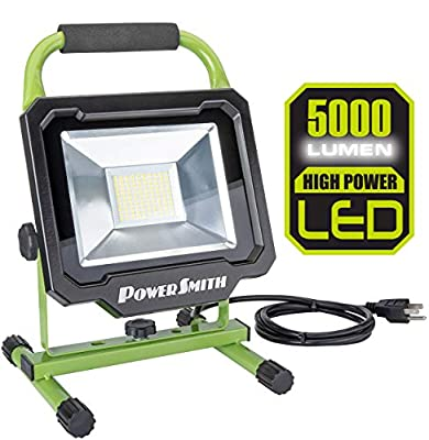 PowerSmith PWL150S 5,000 Lumen LED Work Light with Adjustable Metal Stand and 5ft Power Cord Green