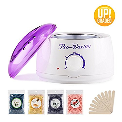 armer Hair Removal Kit with 4 Flavors Hard Pearl Wax Beans, Home Eyebrow Wax Pot Hot Wax Kit with 10 Wax Applicator Sticks for Women and Men's Body Hair Removal ()