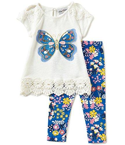 Rare Editions Girls Gem Sequin Butterfly Leggings Set (12m-4t) (4t)