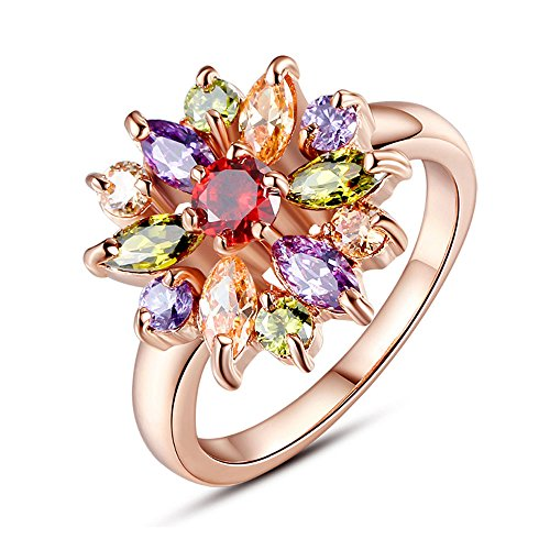 18K Gold Plated 925 Sliver Red Zircon Ring - 9